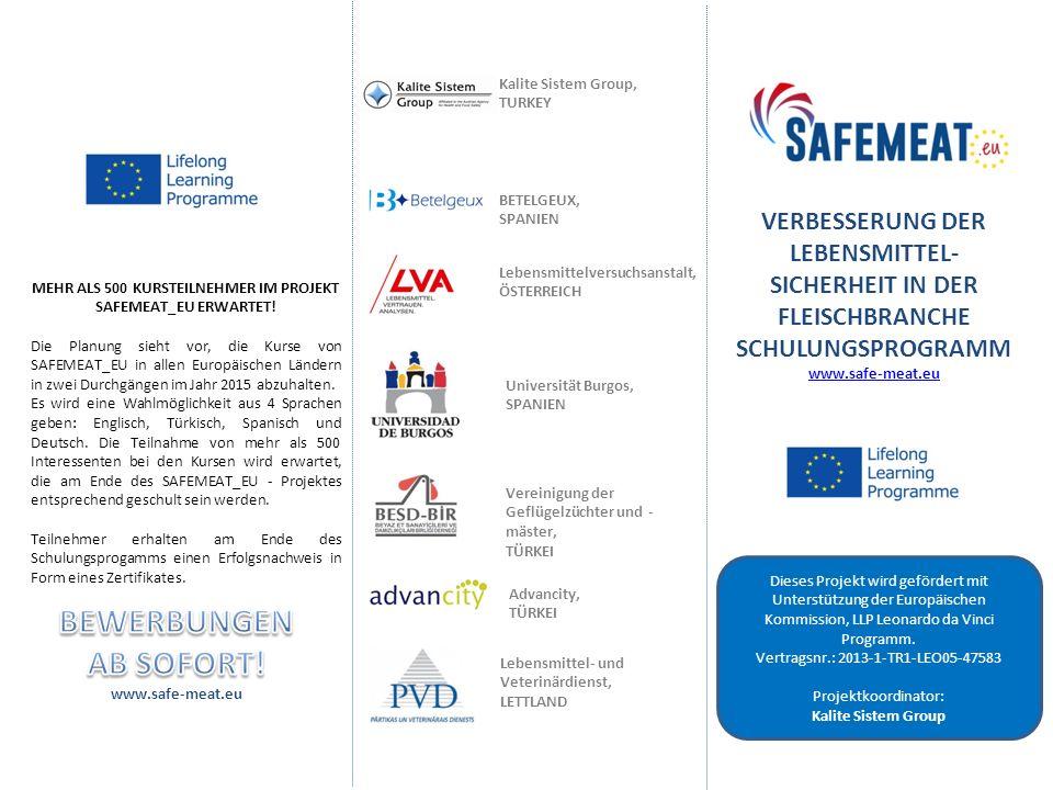 VERBESSERUNG DER LEBENSMITTEL- SICHERHEIT IN DER FLEISCHBRANCHE SCHULUNGSPROGRAMM www.safe-meat.eu Dieses Projekt wird gefördert mit Unterstützung der