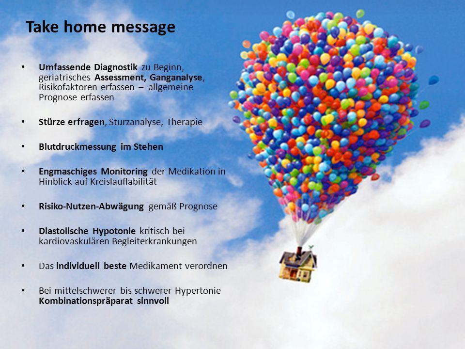 Take home message Umfassende Diagnostik zu Beginn, geriatrisches Assessment, Ganganalyse, Risikofaktoren erfassen – allgemeine Prognose erfassen Stürze erfragen, Sturzanalyse, Therapie Blutdruckmessung im Stehen Engmaschiges Monitoring der Medikation in Hinblick auf Kreislauflabilität Risiko-Nutzen-Abwägung gemäß Prognose Diastolische Hypotonie kritisch bei kardiovaskulären Begleiterkrankungen Das individuell beste Medikament verordnen Bei mittelschwerer bis schwerer Hypertonie Kombinationspräparat sinnvoll