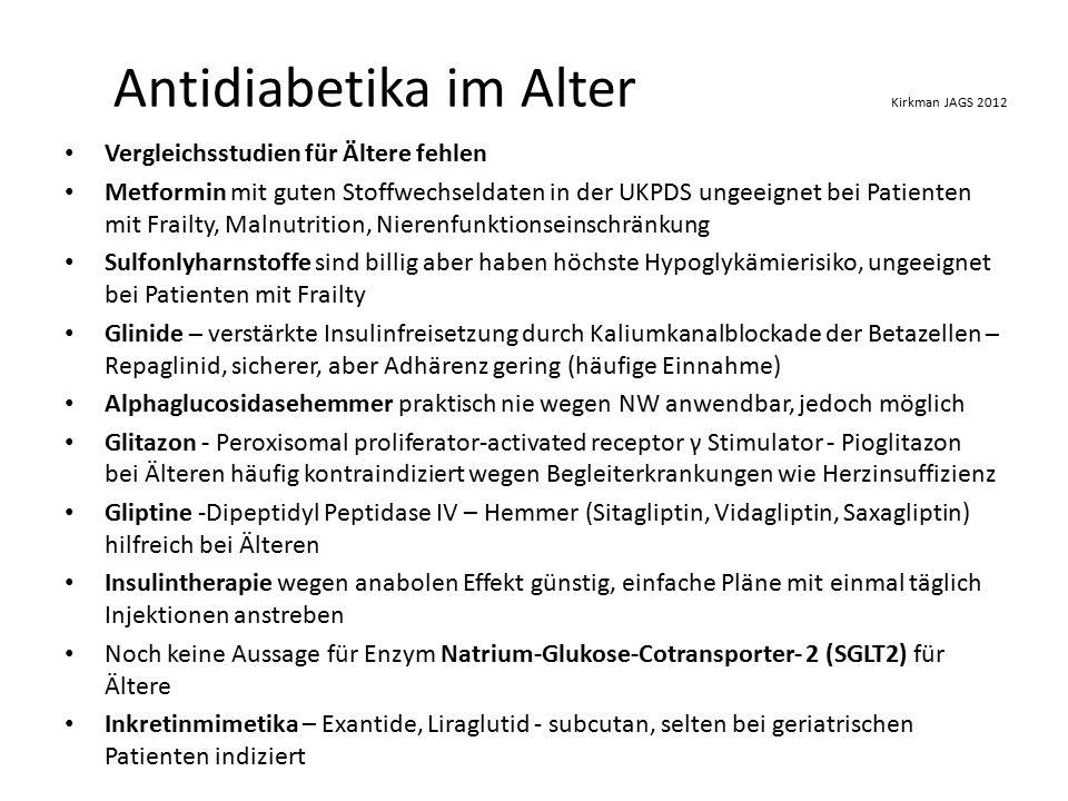 Antidiabetika im Alter Kirkman JAGS 2012 Vergleichsstudien für Ältere fehlen Metformin mit guten Stoffwechseldaten in der UKPDS ungeeignet bei Patienten mit Frailty, Malnutrition, Nierenfunktionseinschränkung Sulfonlyharnstoffe sind billig aber haben höchste Hypoglykämierisiko, ungeeignet bei Patienten mit Frailty Glinide – verstärkte Insulinfreisetzung durch Kaliumkanalblockade der Betazellen – Repaglinid, sicherer, aber Adhärenz gering (häufige Einnahme) Alphaglucosidasehemmer praktisch nie wegen NW anwendbar, jedoch möglich Glitazon - Peroxisomal proliferator-activated receptor γ Stimulator - Pioglitazon bei Älteren häufig kontraindiziert wegen Begleiterkrankungen wie Herzinsuffizienz Gliptine -Dipeptidyl Peptidase IV – Hemmer (Sitagliptin, Vidagliptin, Saxagliptin) hilfreich bei Älteren Insulintherapie wegen anabolen Effekt günstig, einfache Pläne mit einmal täglich Injektionen anstreben Noch keine Aussage für Enzym Natrium-Glukose-Cotransporter- 2 (SGLT2) für Ältere Inkretinmimetika – Exantide, Liraglutid - subcutan, selten bei geriatrischen Patienten indiziert