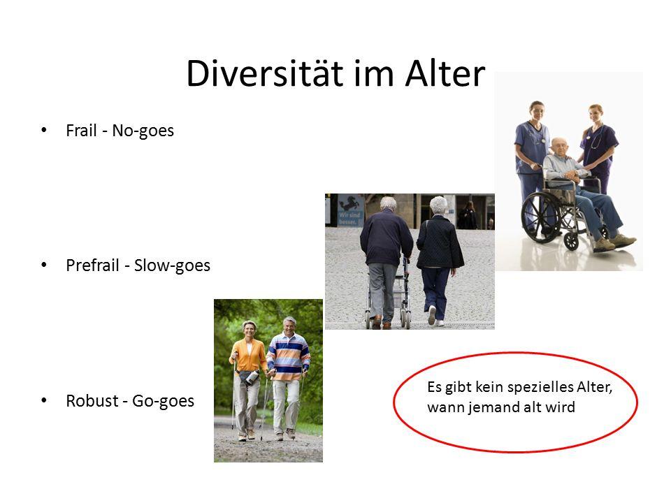 Diversität im Alter Frail - No-goes Prefrail - Slow-goes Robust - Go-goes Es gibt kein spezielles Alter, wann jemand alt wird