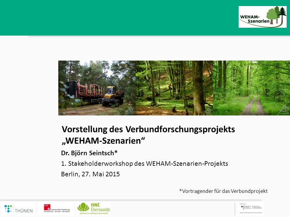 """Hintergrund und Ziele Projekthintergrund – Unterschiedlichste und konkurrierende Ansprüche der Gesellschaft an den Wald – Bedarf nach Entscheidungshilfen zu künftigen Handlungsoptionen – Bundeswaldinventur (BWI), WEHAM-Szenarien und Holzverwendungsszenarien sind zentrale Entscheidungsgrundlagen – Szenarien (= """"Zukunftsbilder bzw."""