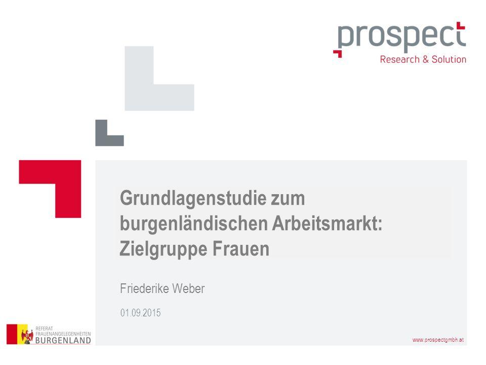 www.prospectgmbh.at 01.09.2015 Friederike Weber Grundlagenstudie zum burgenländischen Arbeitsmarkt: Zielgruppe Frauen