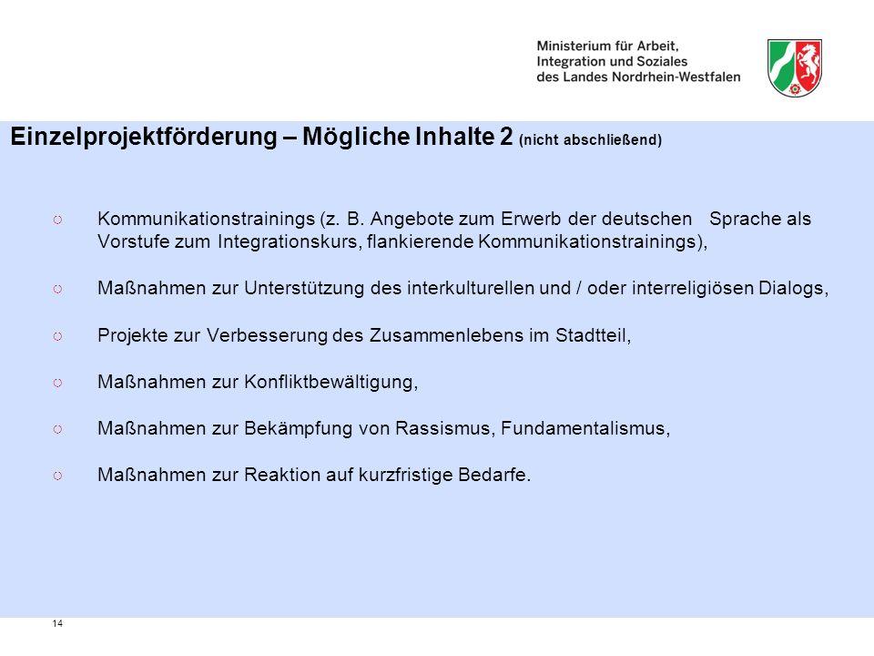 14 Einzelprojektförderung – Mögliche Inhalte 2 (nicht abschließend) ○Kommunikationstrainings (z.