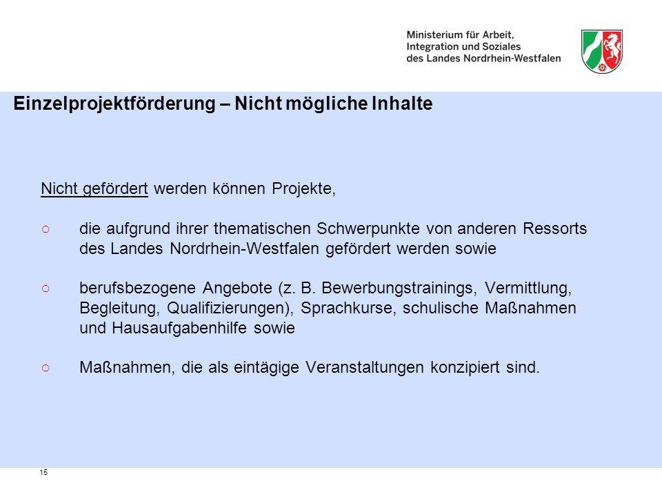 15 Einzelprojektförderung – Nicht mögliche Inhalte Nicht gefördert werden können Projekte, ○die aufgrund ihrer thematischen Schwerpunkte von anderen Ressorts des Landes Nordrhein-Westfalen gefördert werden sowie ○berufsbezogene Angebote (z.
