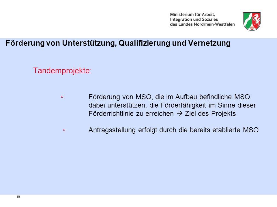 19 Förderung von Unterstützung, Qualifizierung und Vernetzung Tandemprojekte: ▫Förderung von MSO, die im Aufbau befindliche MSO dabei unterstützen, die Förderfähigkeit im Sinne dieser Förderrichtlinie zu erreichen  Ziel des Projekts ▫ Antragsstellung erfolgt durch die bereits etablierte MSO