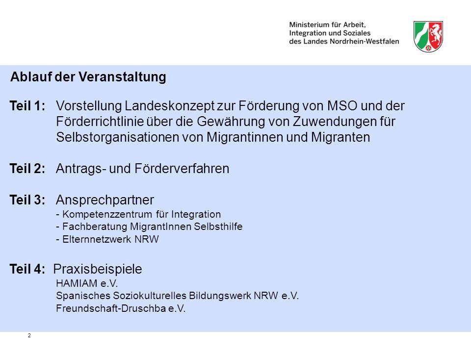 2 Teil 1: Vorstellung Landeskonzept zur Förderung von MSO und der Förderrichtlinie über die Gewährung von Zuwendungen für Selbstorganisationen von Migrantinnen und Migranten Teil 2: Antrags- und Förderverfahren Teil 3: Ansprechpartner - Kompetenzzentrum für Integration - Fachberatung MigrantInnen Selbsthilfe - Elternnetzwerk NRW Teil 4: Praxisbeispiele HAMIAM e.V.