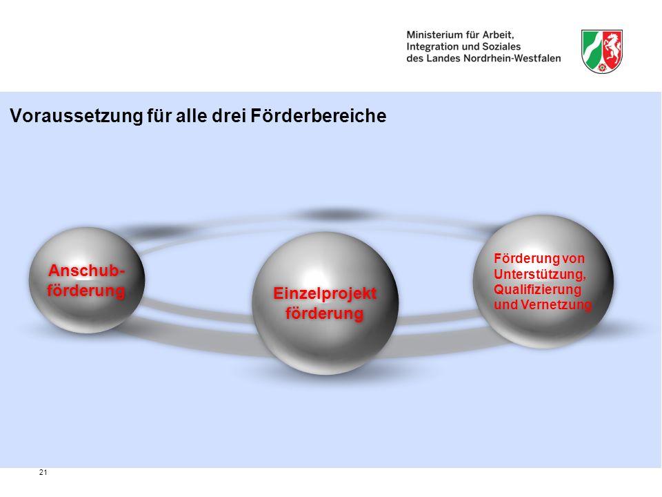 21 Voraussetzung für alle drei Förderbereiche EinzelprojektförderungEinzelprojektförderung Förderung von Unterstützung, Qualifizierung und Vernetzung Anschub- förderung