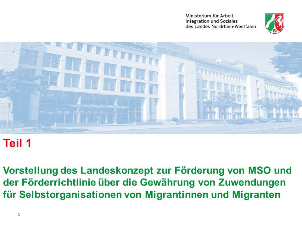 3 Teil 1 Vorstellung des Landeskonzept zur Förderung von MSO und der Förderrichtlinie über die Gewährung von Zuwendungen für Selbstorganisationen von Migrantinnen und Migranten