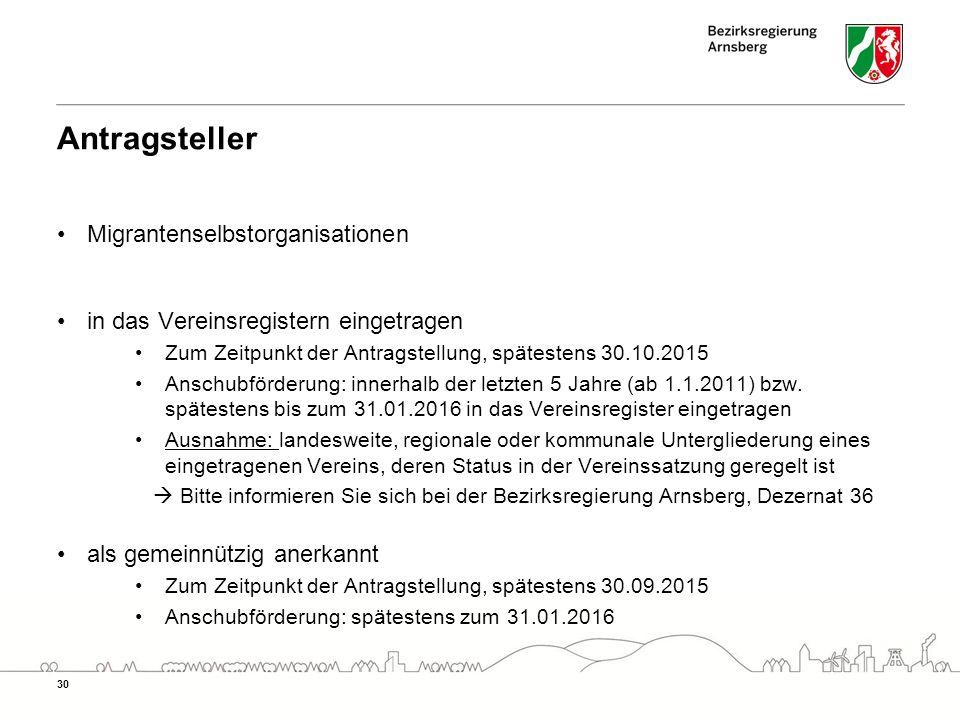 Antragsteller Migrantenselbstorganisationen in das Vereinsregistern eingetragen Zum Zeitpunkt der Antragstellung, spätestens 30.10.2015 Anschubförderung: innerhalb der letzten 5 Jahre (ab 1.1.2011) bzw.