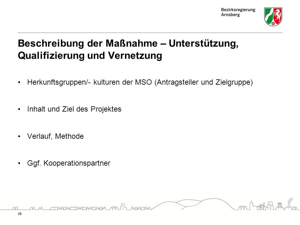 Beschreibung der Maßnahme – Unterstützung, Qualifizierung und Vernetzung Herkunftsgruppen/- kulturen der MSO (Antragsteller und Zielgruppe) Inhalt und Ziel des Projektes Verlauf, Methode Ggf.