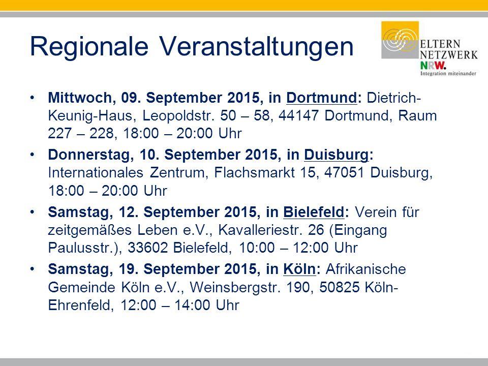 Regionale Veranstaltungen Mittwoch, 09.