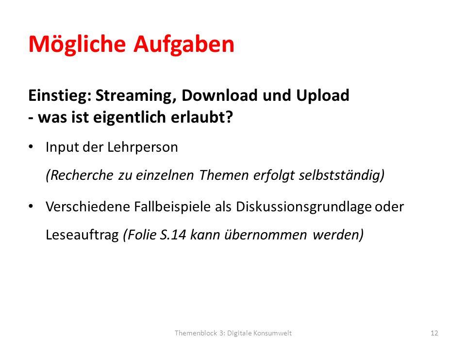 Mögliche Aufgaben Einstieg: Streaming, Download und Upload - was ist eigentlich erlaubt? Input der Lehrperson (Recherche zu einzelnen Themen erfolgt s