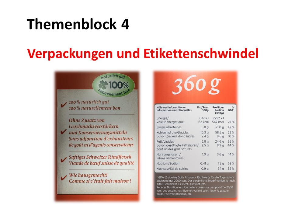 Themenblock 4 Verpackungen und Etikettenschwindel