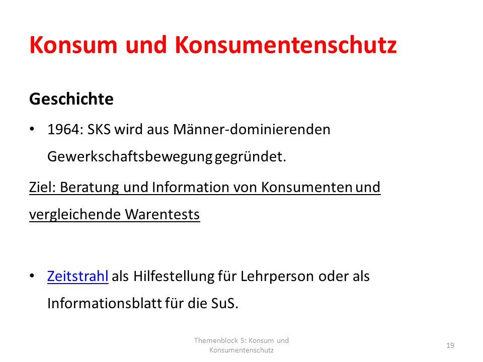 Konsum und Konsumentenschutz Geschichte 1964: SKS wird aus Männer-dominierenden Gewerkschaftsbewegung gegründet. Ziel: Beratung und Information von Ko