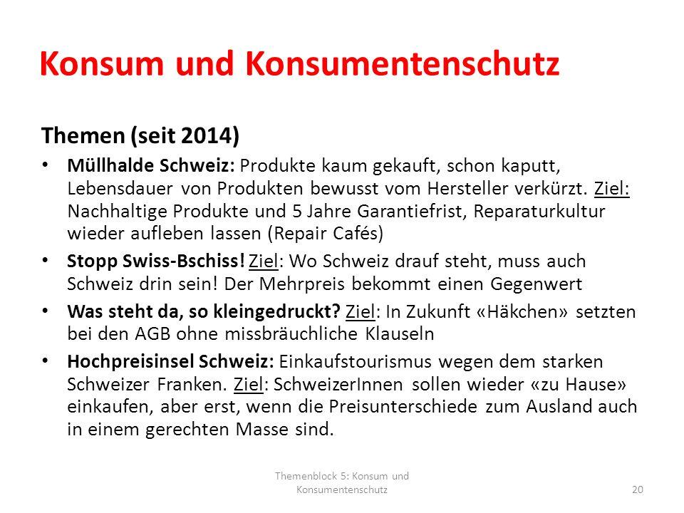 Konsum und Konsumentenschutz Themen (seit 2014) Müllhalde Schweiz: Produkte kaum gekauft, schon kaputt, Lebensdauer von Produkten bewusst vom Herstell