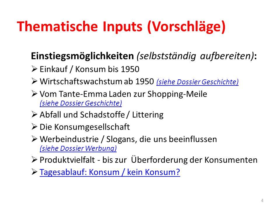 Einstiegsmöglichkeiten (selbstständig aufbereiten):  Einkauf / Konsum bis 1950  Wirtschaftswachstum ab 1950 (siehe Dossier Geschichte) (siehe Dossie