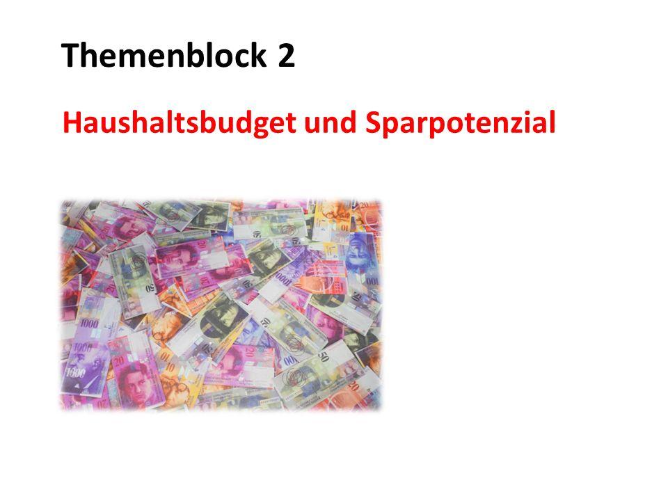 Mögliche Aufgaben Einstieg: Haushaltsbudget Ein Durchschnittshaushalt (umfasst 2,23 Personen) in der Schweiz verdient 7600.- pro Monat (Zahlen gemäss Bundesamt für Statistik)  Möglichkeit 1: diese Durchschnittszahl besprechen  Möglichkeit 2: wie viel Geld bleibt am Monatsende zum Sparen übrig.