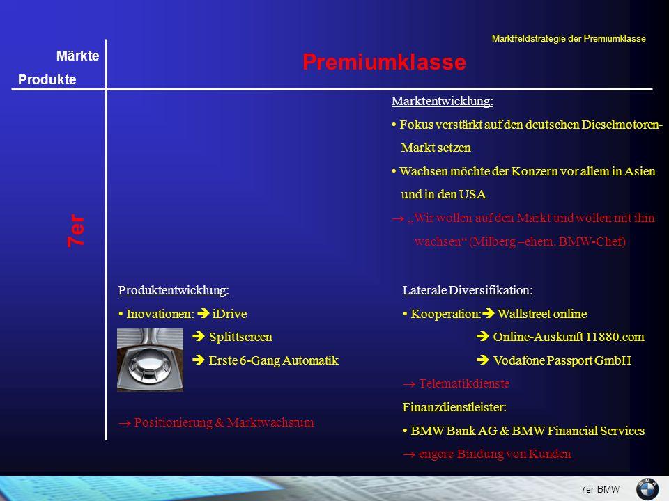 7er BMW Märkte Produkte 7er Premiumklasse Laterale Diversifikation: Kooperation:  Wallstreet online  Online-Auskunft 11880.com  Vodafone Passport G