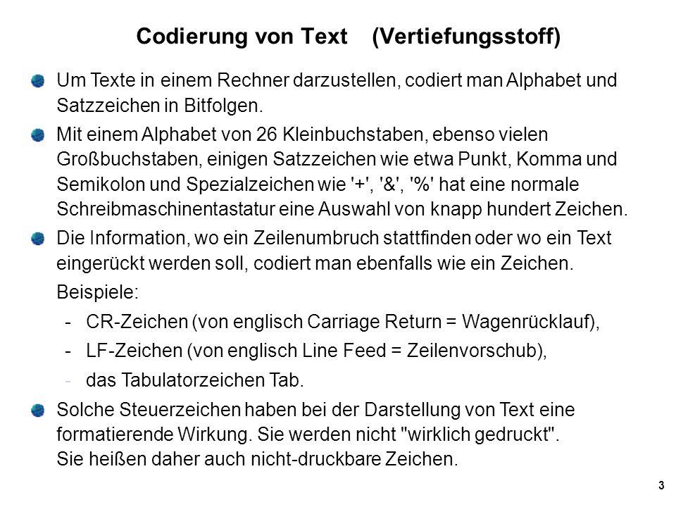 14 UTF-8 UTF-8 Codes können die verschiedenen UCS-Codes (und Teilmengen davon) auf einfache Weise repräsentieren: 1-Byte-Codes haben die Form 0xxx xxxx und ermöglichen die Verwendung von 7 (mit x gekennzeichneten) Bits und damit die Codierung von allen 7-Bit ASCII Codes.