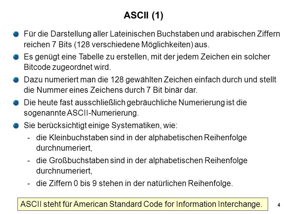 5 ASCII Tabelle ASCII 7-Bit-Code (+1 Prüfbit): genau 128 Zeichen darstellbar 8-Bit-ASCII auch üblich:dann 256 Zeichen darstellbar 4 bit + jeweils 3bit = 7
