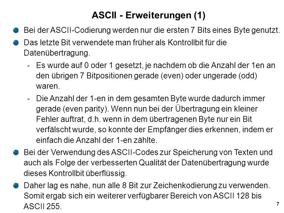 8 ASCII - Erweiterungen (2) PCs benutzen diese zusätzlichen Codes zur Darstellung von sprachspezifischen Zeichen wie z.B.
