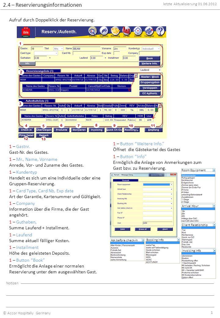 letzte Aktualisierung 01.06.2012 © Accor Hospitaliy Germany Notizen 2 2 – Status der Reservierung Status kann sein: Laufend, Vergangen oder storniert 2 – Name des Gastes Name des Gastes.