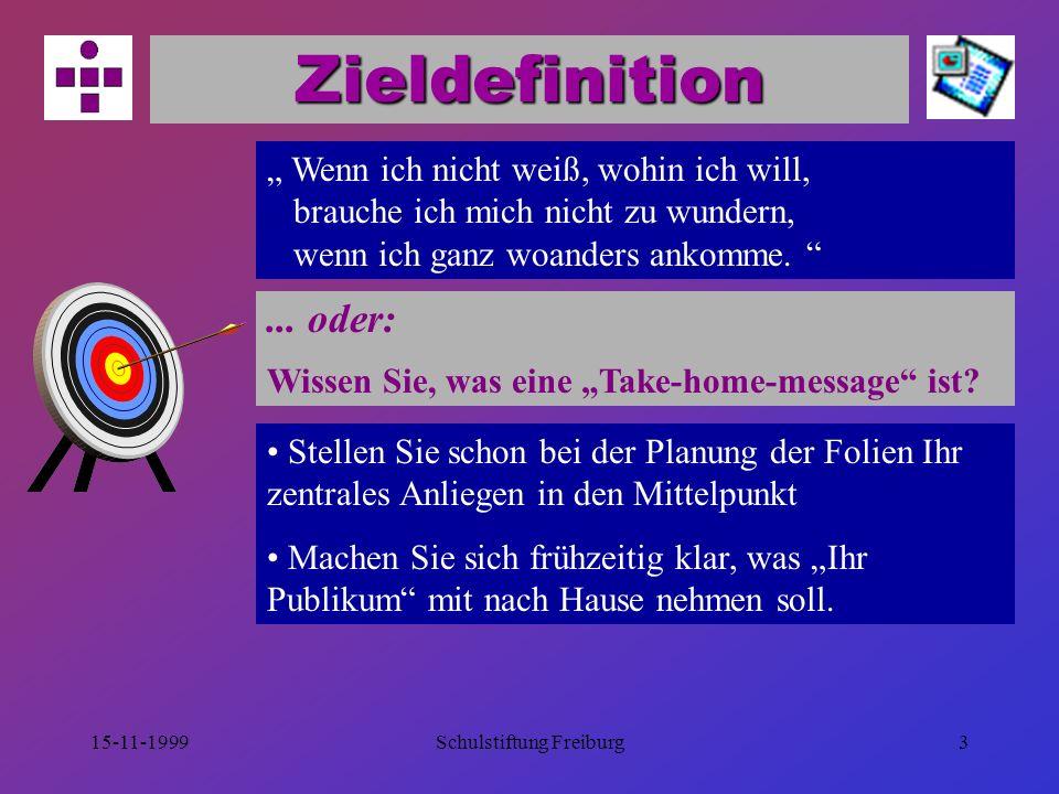 """15-11-1999Schulstiftung Freiburg3 Zieldefinition """" Wenn ich nicht weiß, wohin ich will, brauche ich mich nicht zu wundern, wenn ich ganz woanders ankomme."""