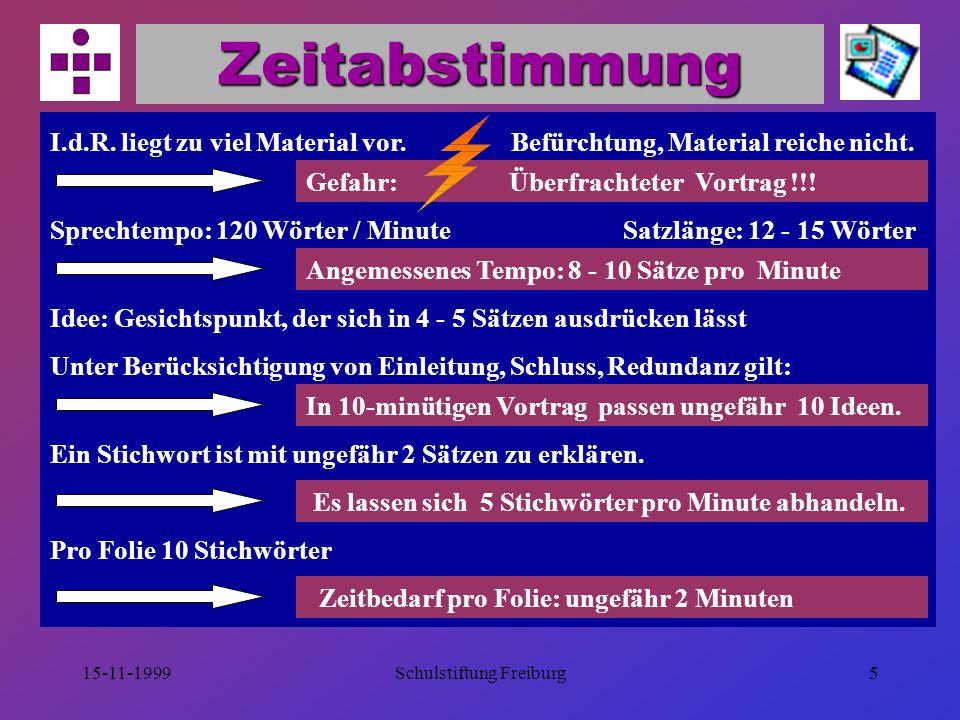 15-11-1999Schulstiftung Freiburg15 Tipps zum Layout Einheitliches Design (Hintergrund, Logo, Platzierung der Elemente) Inhalt einer Folie ist eine Sinneinheit.