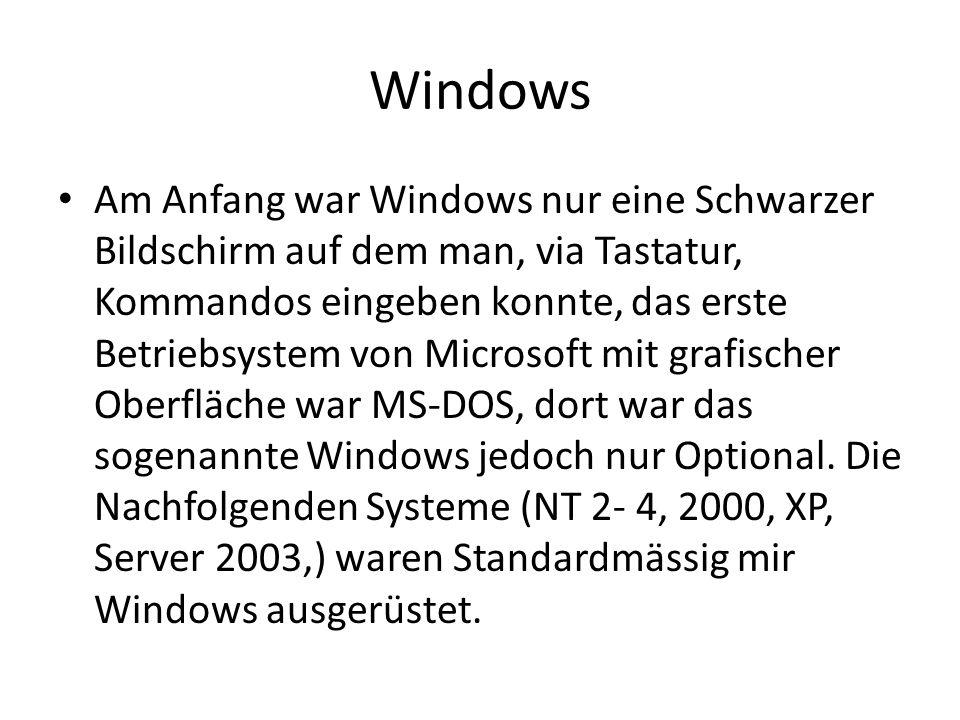 Windows Am Anfang war Windows nur eine Schwarzer Bildschirm auf dem man, via Tastatur, Kommandos eingeben konnte, das erste Betriebsystem von Microsof