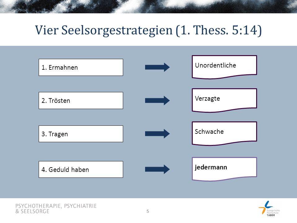 55 Vier Seelsorgestrategien (1. Thess. 5:14) 1. Ermahnen Unordentliche 2.
