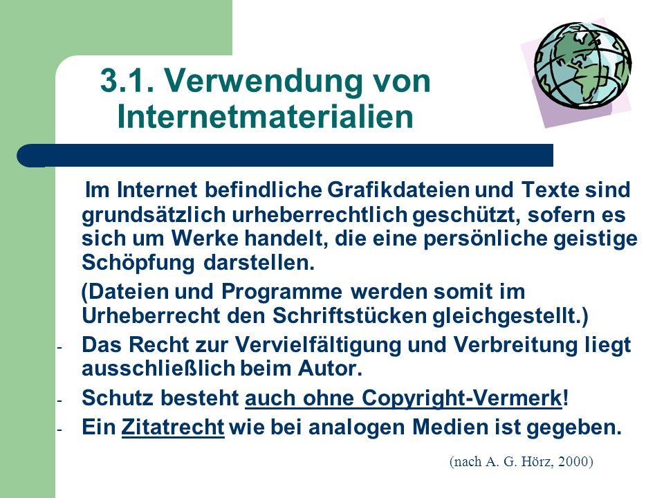 3.1. Verwendung von Internetmaterialien Im Internet befindliche Grafikdateien und Texte sind grundsätzlich urheberrechtlich geschützt, sofern es sich