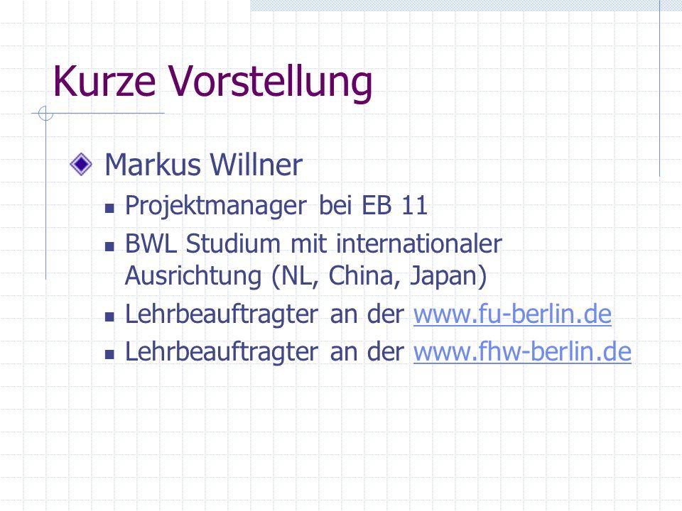 Organisatorisches Schulungszeiten: 9.30-12.30 in Raum 3021 Pausen je nach Gruppe Support des Kurses: Skript / PPT Online: http://www.markus-willner.de/edv-kurse/http://www.markus-willner.de/edv-kurse/ CD-Rom, Bücher Email: markus.willner@t-systems.demarkus.willner@t-systems.de Interesse an Nachfolger ?