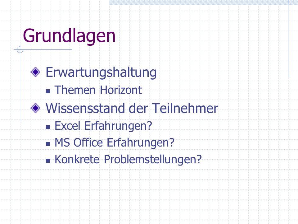 Grundlagen: Excel Titelleiste Menüleiste Symbolleiste Menü:Datei Menü:Extras Los geht's!