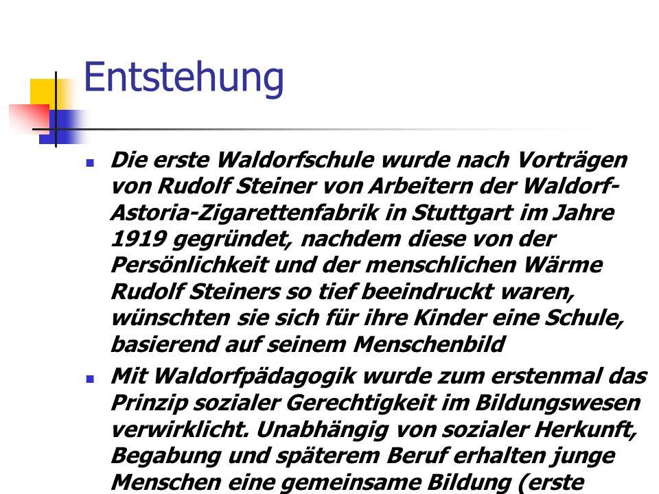 Entstehung Die erste Waldorfschule wurde nach Vorträgen von Rudolf Steiner von Arbeitern der Waldorf- Astoria-Zigarettenfabrik in Stuttgart im Jahre 1919 gegründet, nachdem diese von der Persönlichkeit und der menschlichen Wärme Rudolf Steiners so tief beeindruckt waren, wünschten sie sich für ihre Kinder eine Schule, basierend auf seinem Menschenbild Mit Waldorfpädagogik wurde zum erstenmal das Prinzip sozialer Gerechtigkeit im Bildungswesen verwirklicht.
