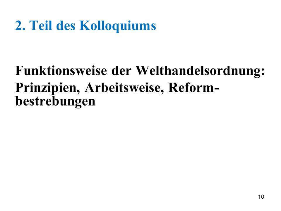 10 2. Teil des Kolloquiums Funktionsweise der Welthandelsordnung: Prinzipien, Arbeitsweise, Reform- bestrebungen