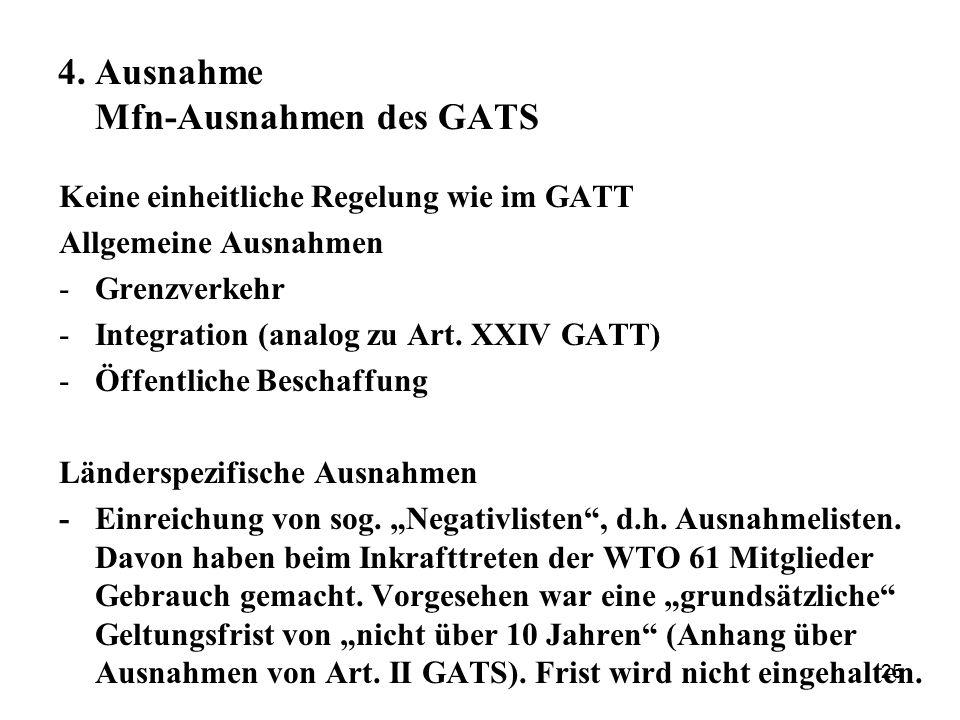 25 4. Ausnahme Mfn-Ausnahmen des GATS Keine einheitliche Regelung wie im GATT Allgemeine Ausnahmen -Grenzverkehr -Integration (analog zu Art. XXIV GAT