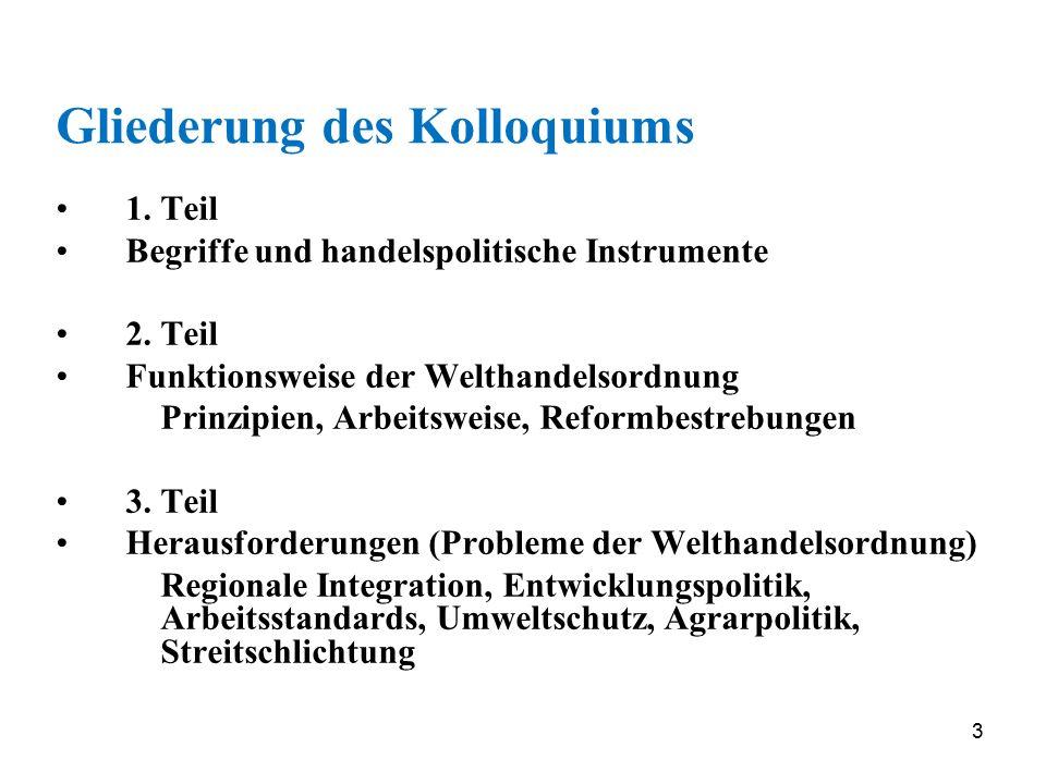 3 Gliederung des Kolloquiums 1. Teil Begriffe und handelspolitische Instrumente 2. Teil Funktionsweise der Welthandelsordnung Prinzipien, Arbeitsweise