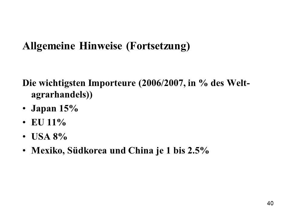 40 Allgemeine Hinweise (Fortsetzung) Die wichtigsten Importeure (2006/2007, in % des Welt- agrarhandels)) Japan 15% EU 11% USA 8% Mexiko, Südkorea und