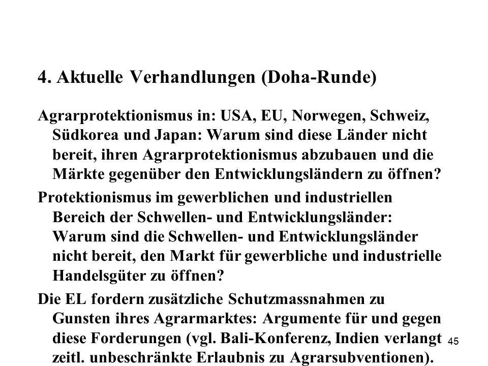 45 4. Aktuelle Verhandlungen (Doha-Runde) Agrarprotektionismus in: USA, EU, Norwegen, Schweiz, Südkorea und Japan: Warum sind diese Länder nicht berei