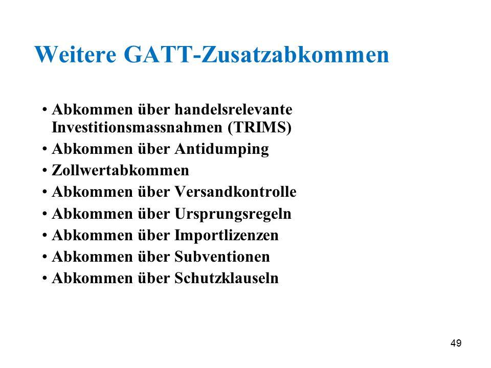 49 Weitere GATT-Zusatzabkommen Abkommen über handelsrelevante Investitionsmassnahmen (TRIMS) Abkommen über Antidumping Zollwertabkommen Abkommen über