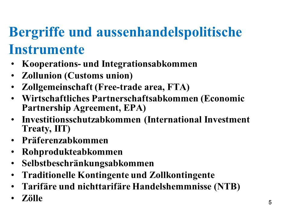 5 Bergriffe und aussenhandelspolitische Instrumente Kooperations- und Integrationsabkommen Zollunion (Customs union) Zollgemeinschaft (Free-trade area