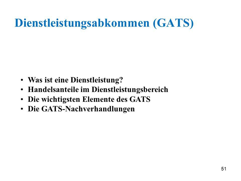 51 Dienstleistungsabkommen (GATS) Was ist eine Dienstleistung? Handelsanteile im Dienstleistungsbereich Die wichtigsten Elemente des GATS Die GATS-Nac