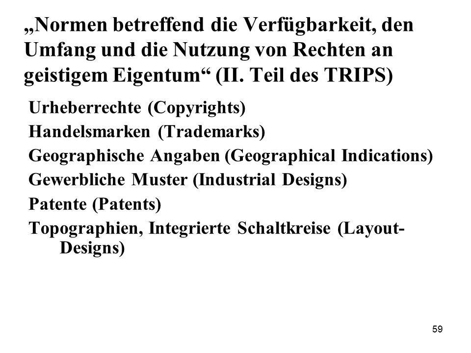 """59 """"Normen betreffend die Verfügbarkeit, den Umfang und die Nutzung von Rechten an geistigem Eigentum"""" (II. Teil des TRIPS) Urheberrechte (Copyrights)"""