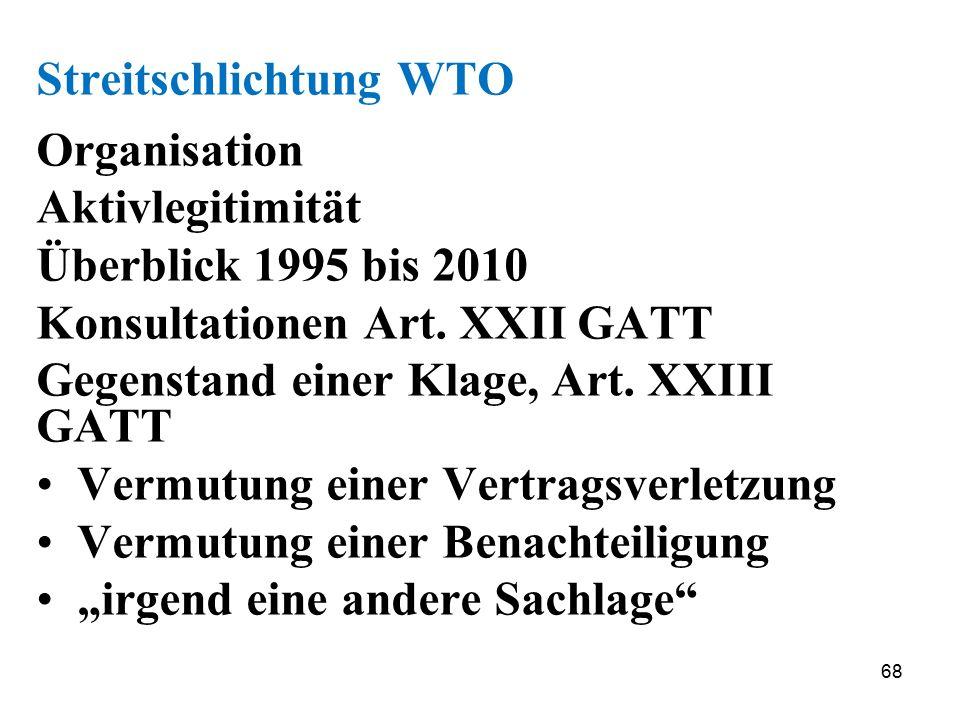 68 Streitschlichtung WTO Organisation Aktivlegitimität Überblick 1995 bis 2010 Konsultationen Art. XXII GATT Gegenstand einer Klage, Art. XXIII GATT V