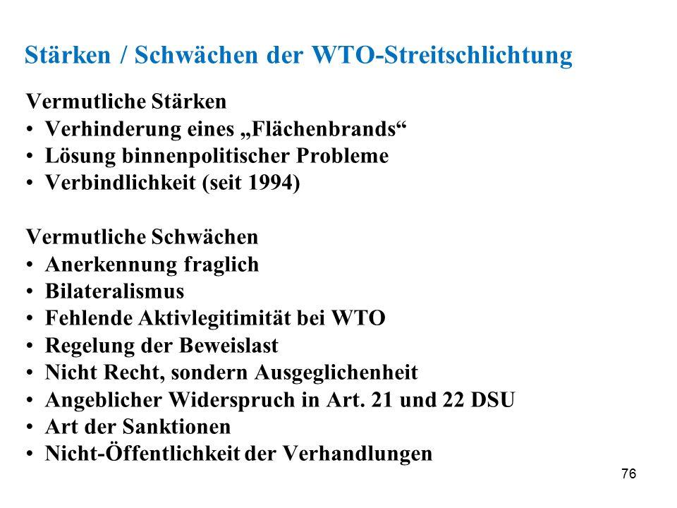"""76 Stärken / Schwächen der WTO-Streitschlichtung Vermutliche Stärken Verhinderung eines """"Flächenbrands"""" Lösung binnenpolitischer Probleme Verbindlichk"""