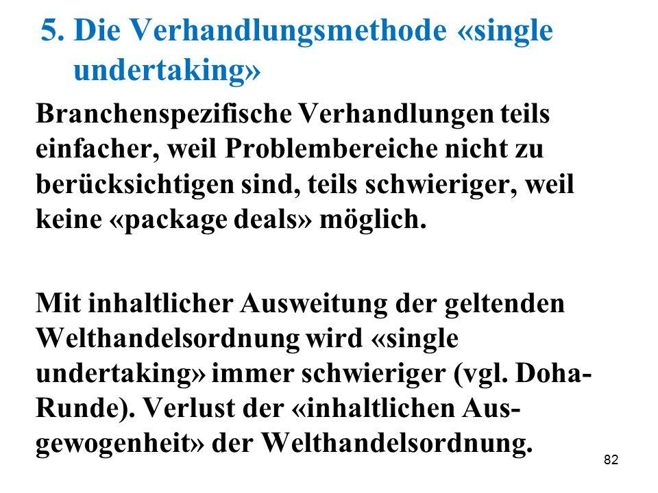 82 5. Die Verhandlungsmethode «single undertaking» Branchenspezifische Verhandlungen teils einfacher, weil Problembereiche nicht zu berücksichtigen si