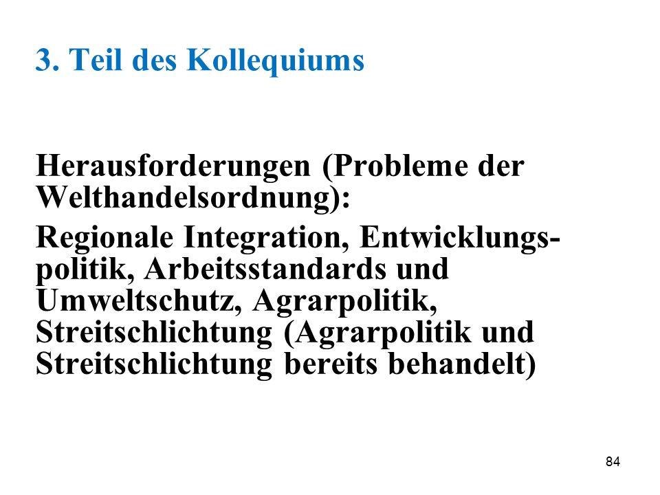 84 3. Teil des Kollequiums Herausforderungen (Probleme der Welthandelsordnung): Regionale Integration, Entwicklungs- politik, Arbeitsstandards und Umw
