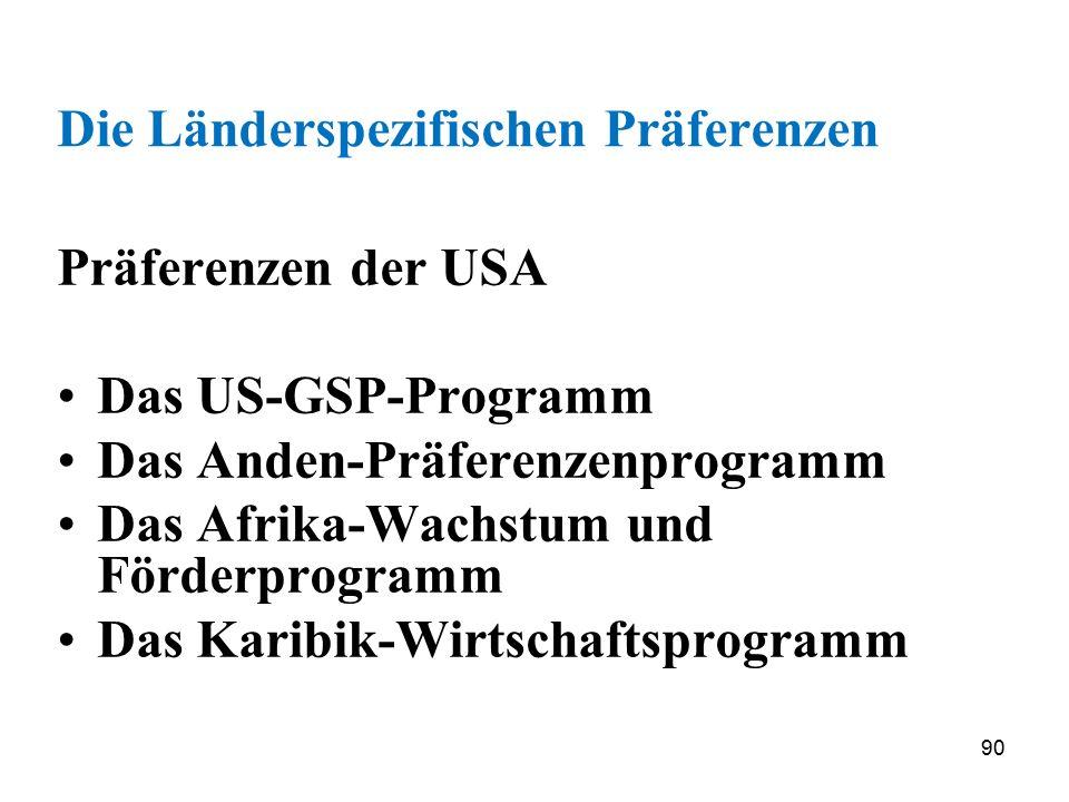 90 Die Länderspezifischen Präferenzen Präferenzen der USA Das US-GSP-Programm Das Anden-Präferenzenprogramm Das Afrika-Wachstum und Förderprogramm Das
