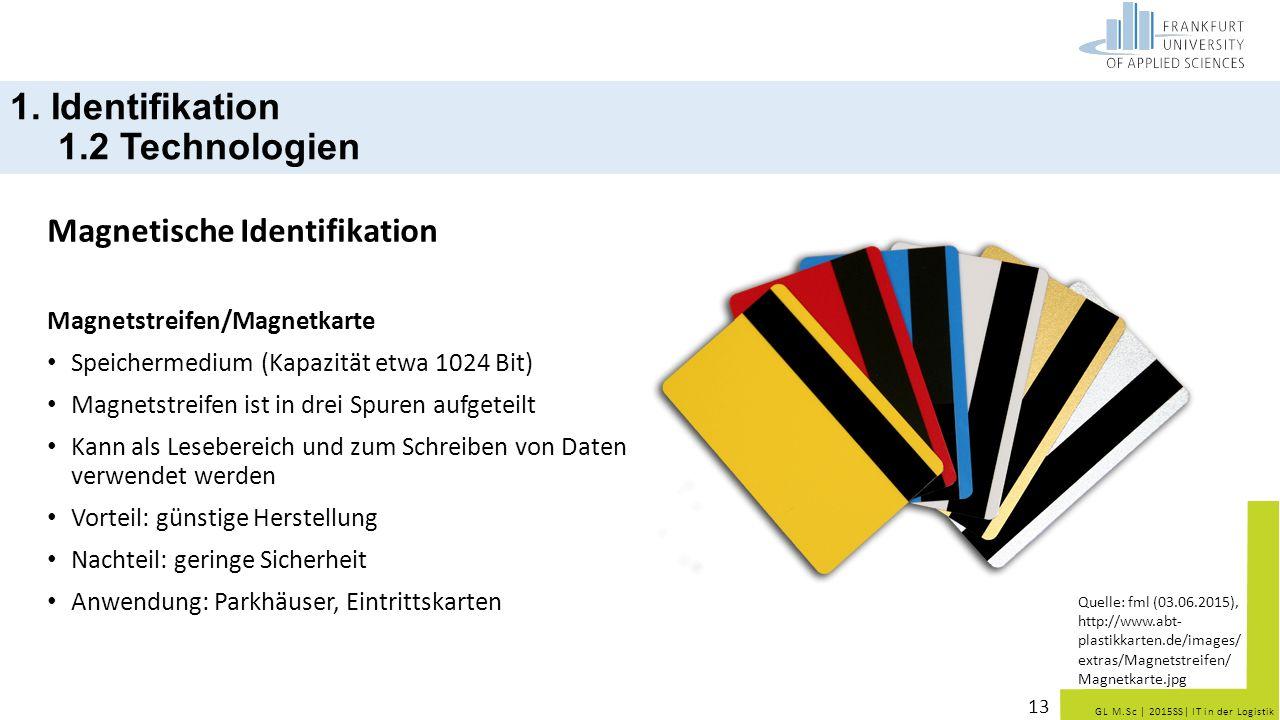GL M.Sc   2015SS  IT in der Logistik Magnetische Identifikation Magnetstreifen/Magnetkarte Speichermedium (Kapazität etwa 1024 Bit) Magnetstreifen ist