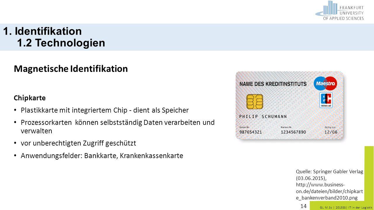 GL M.Sc   2015SS  IT in der Logistik Magnetische Identifikation Chipkarte Plastikkarte mit integriertem Chip - dient als Speicher Prozessorkarten könn